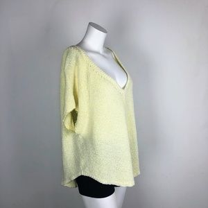 Free People V-Neck Short Slv Nubby Yellow Sweater